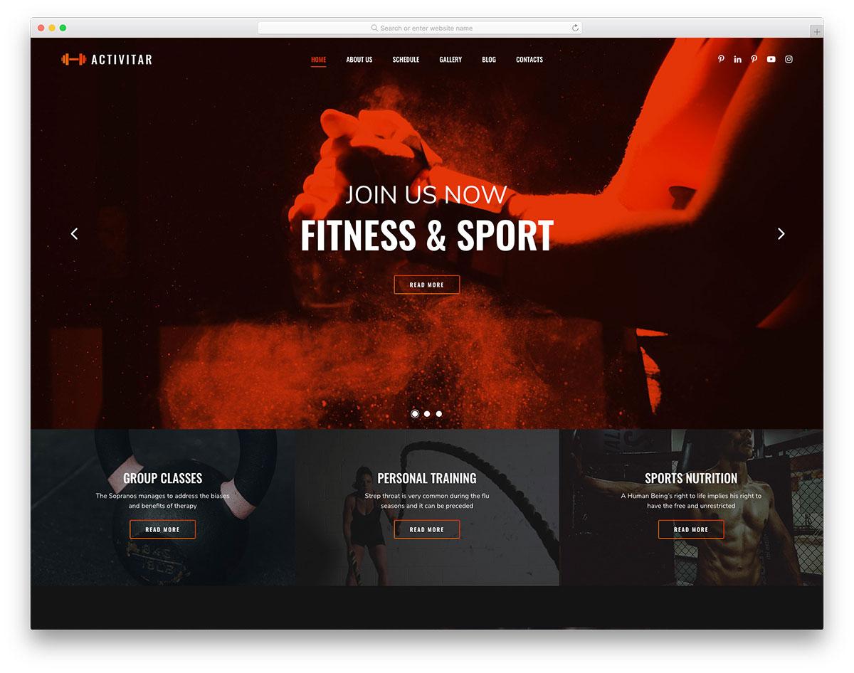 Activitar впечатляющий шаблон сайта фитнес-клуба