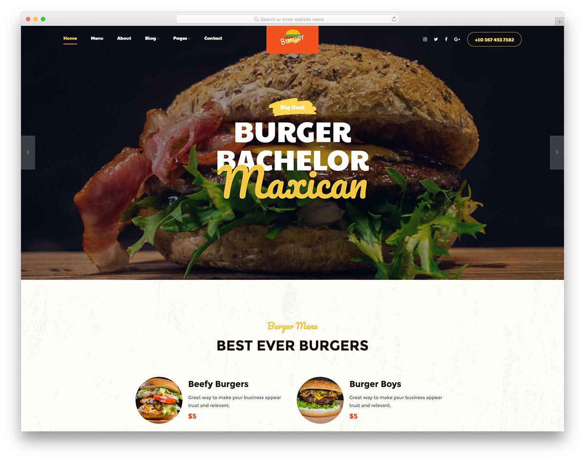 Burger стильный шаблон сайта бургерной