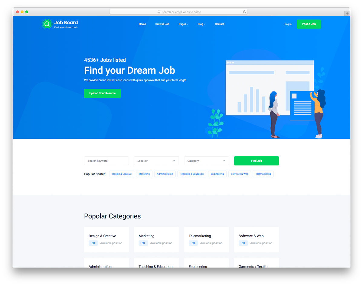 Job Board 2 профессональный шаблон сайта кадрового агентства