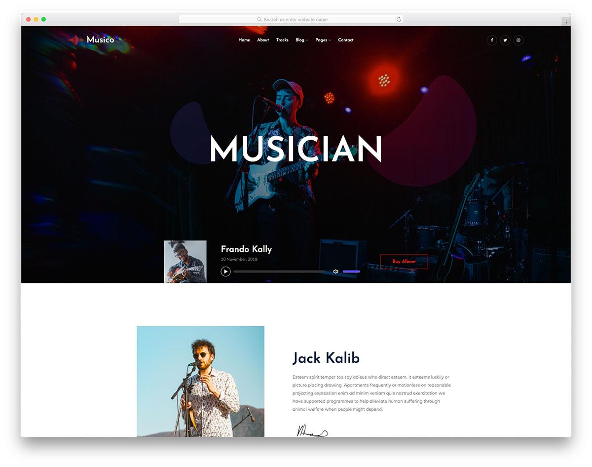 Musico творческий шаблон сайта музыканта